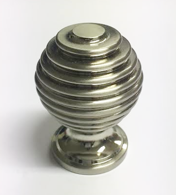 Stepped ring Round ball knob Brushed Nickel