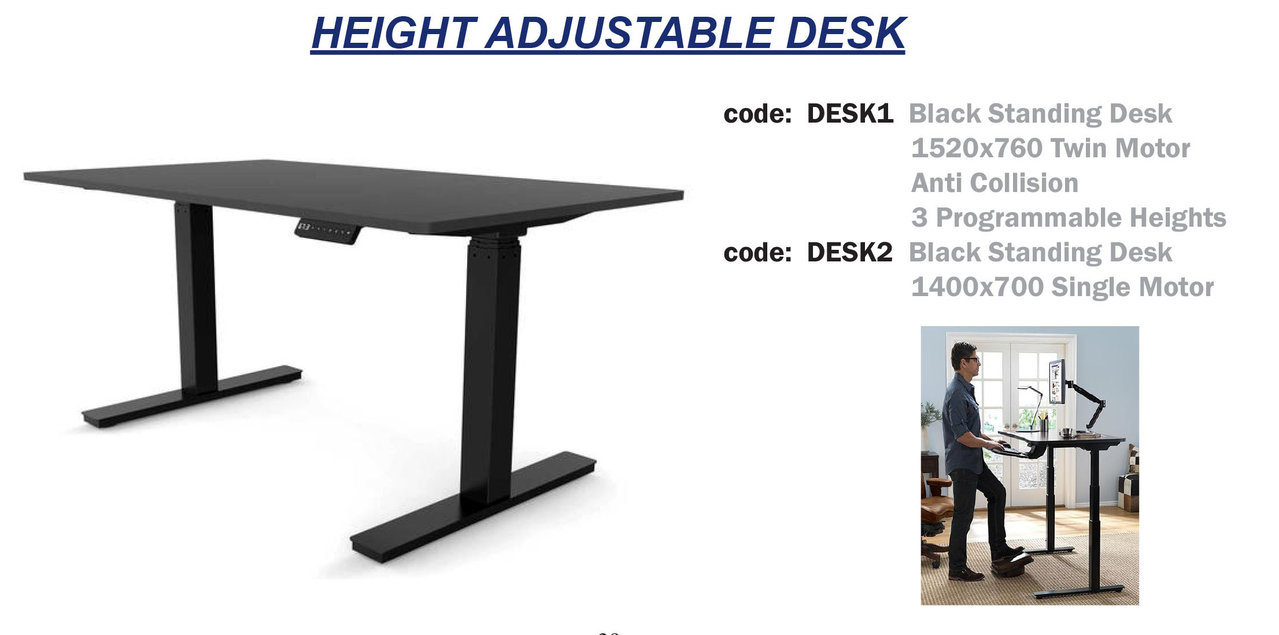 HEIGHT ADJ DESK - SINGLE MOTOR